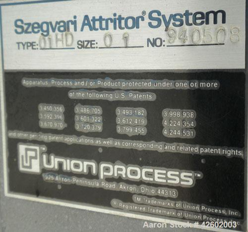 "Used- Szegvari Attritor, Type 01HDT, Size 01. 1/2"" Diameter x 6"" long 304 stainless steel removable pin bar agitator, requir..."
