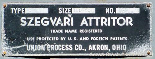 USED: Szegavari attritor, type B, size 100-SC, carbon steel.