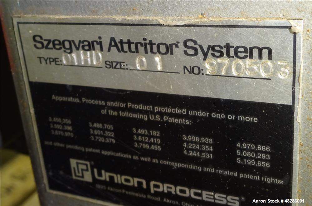 Used- Union Process Szegvari Laboratory Batch Attritor Mill, Type 01-HD, Size 01