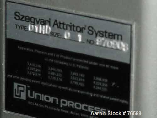 "USED:Union Process type 01HD, size 01, Szegvari laboratory batchattritor mill, stainless steel. Approx 3-1/2"" diameter x 4-1..."