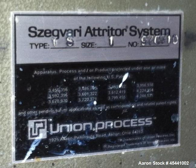Used- Union Process Attritor Szegvari, Type: 1S