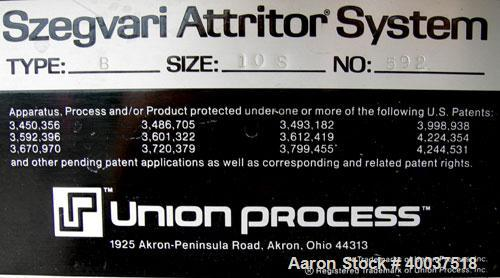"""Used: Union Process Szegvari Attritor, Type 10S, Size B, 304 stainless steel. 16"""" x 19"""" carbon steel jacketed grinding chamb..."""