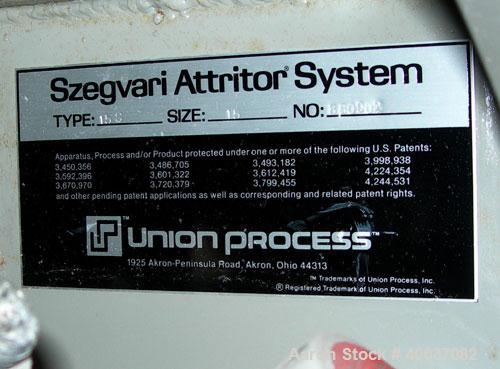 "Used: Union Process Szegvari Attritor, Type 15S, Size 15. 18"" x 20"" jacketed stainless steel grinding chamber. 1 1/2"" diamet..."