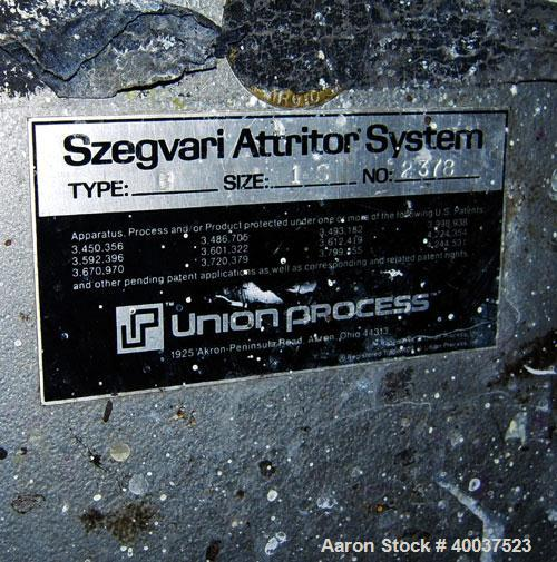Used- Stainless Steel Union Process Szegvari Attritor, Type 1S