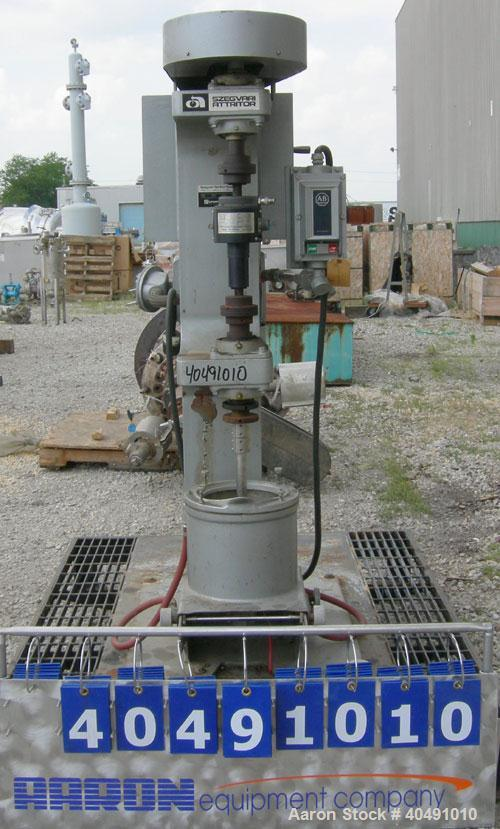 """Used- Union Process Szegvari Attritor Mill, type 1S, size B, 304 stainless steel. 9 1/2"""" x 8 1/2"""" carbon steel jacketed grin..."""