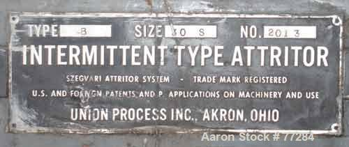 """USED: Union Process type B, size 30S, intermittent attritor mill, carbon steel. 24"""" diameter x 27"""" deep jacketed tank, no to..."""