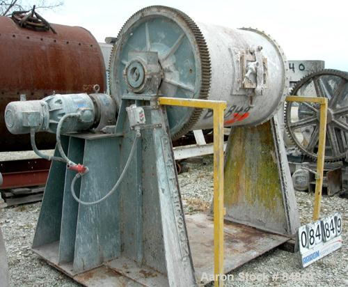 "USED: Patterson ball mill, carbon steel, lined non-jacketed chamber 32"" diameter x 44"" long, 153 total gallon capacity. 12"" ..."