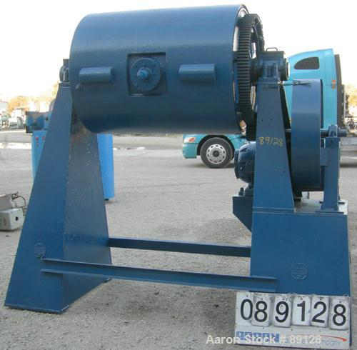 "USED: Paul O Abbe Ball mill, model 5ABM, carbon steel. Cylinder approximately 37"" diameter x 49"" long, 13"" x 14"" charge port..."