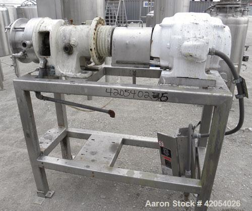 """Used- Charlotte Colloid Mill, Model SD 20, 316 stainless steel, sanitary design. Jacketed chamber approximately 7-1/2"""" diame..."""