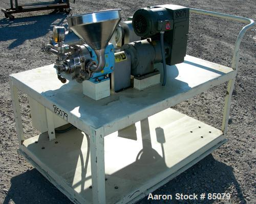 """USED: Charlotte colloid mill, model SD2, 316 stainless steel, sanitary design. Jacketed chamber. Approx 2-3/4"""" diameter groo..."""