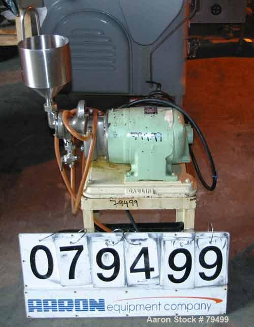 Used- Manton-Gaulin Colloid Mill, Type LP, Stainless Steel. Approximate 3 liter top feed hopper, direct coupled to a 2 HP 3/...