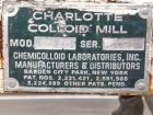 Used- Charlotte Colloid Mill, Model SD 20, 316 stainless steel, sanitary design. Jacketed chamber approximately 7-1/2