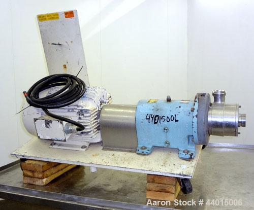 Used- Waukesha Inline Shear Pump, Model SP4, 316 Stainless Steel.  Nominal capacity to 30 gallons per minute at 150 psi at 3...