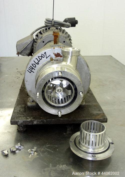 Used- Waukesha Inline Shear Pump, Model SP4, 316 Stainless Steel. Nominal capacity to 30 gallons per minute at 150 psi at 36...