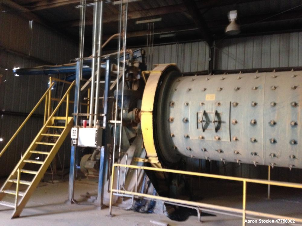 Used- Epworth Morehouse Cowles 7' Diameter x 13' Rubber Lined Continuous Wet Ball Mill. 300-HP drive, Falk gearbox reducer, ...