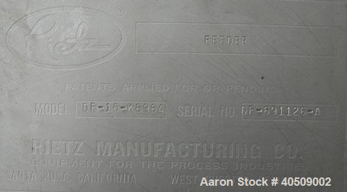 Used- Stainless Steel Rietz Vertical Disintegrator, Model RI-24-K354