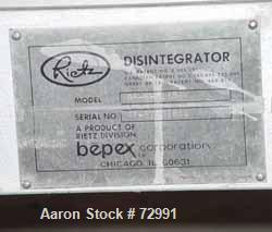 """USED- Bepex Rietz Manufacturing Angle Disintegrator, Model RP-6-K115, Stainless Steel. 6"""" diameter x 2-1/4"""" deep cutting cha..."""