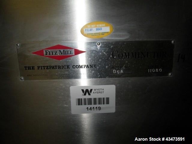 Used- Fitzpatrick Fitzmill, Model D6A. Catilevered design, pan feed, serial# 11080.