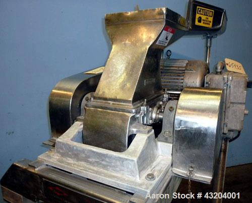 """Used- Fitzpatrick Fitzmill, Model DAS06, Stainless Steel. (16) Fixed double impact blades. 6"""" x 11"""" Cutting chamber, gravity..."""