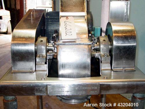 """Used- Fitzpatrick Fitzmill, Model DASO6, Stainless Steel. (16) Fixed impact/knife blades. 6"""" x 11"""" Cutting chamber, gravity ..."""