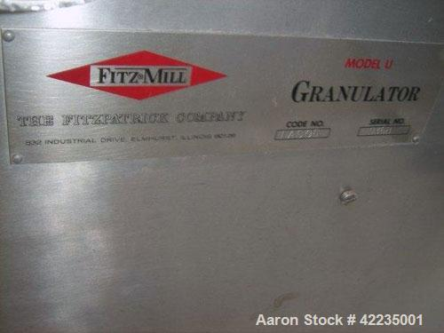 "Used- Fitzpatrick Fitzmill, Model U, Code DASO6, Stainless Steel. (16) Impact/knife fixed blades. 11"" x 13"" cutting chamber...."