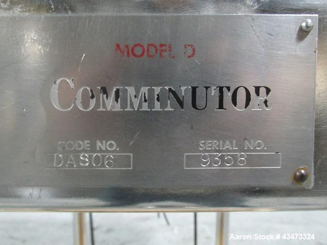 Used- Fitzpatrick Fitzmill, Model DASO6. Stainless steel construction, fixed knives, jacketed cover and mill housing, screw ...