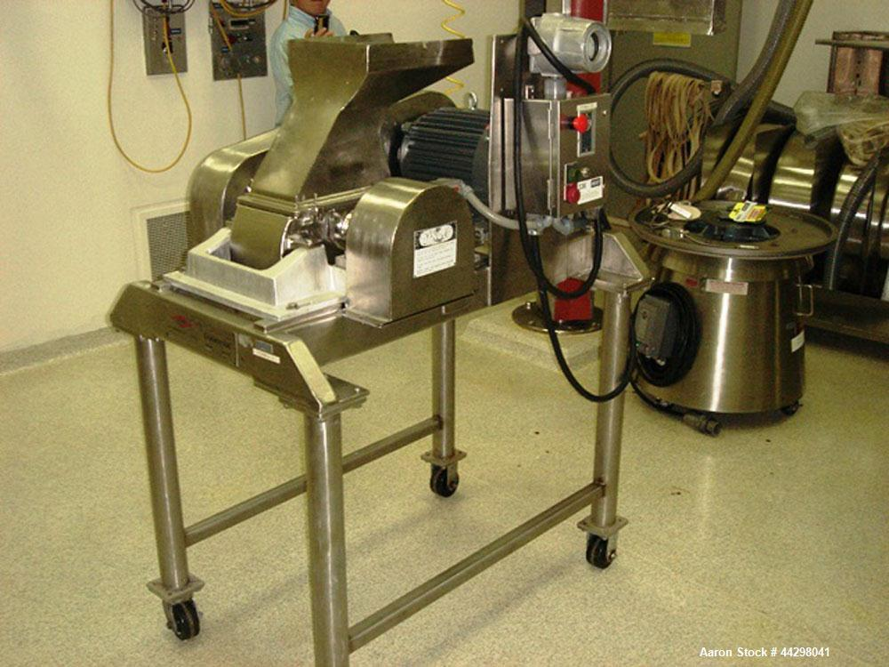 Used- Fitzpatrick Fitzmill, Model DASO6. Stainless steel construction, pan feed, on base with motor, serial #8649.