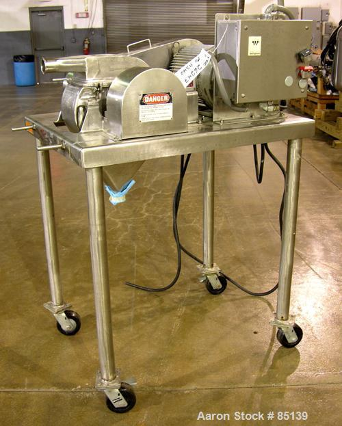 Used- Fitzpatrick Fitzmill, Model DASO6, Stainless Steel. Fixed knives, air swept feed, 7.5 hp, 230/460 volt main drive. Mou...