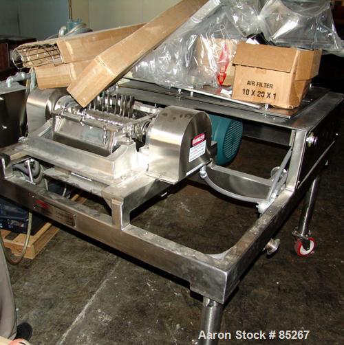 "Used- Fitzpatrick Fitzmill, Model DKA012, stainless steel. (32) Fixed impact/knife blades. 13"" x 11"" cutting chamber, gravit..."
