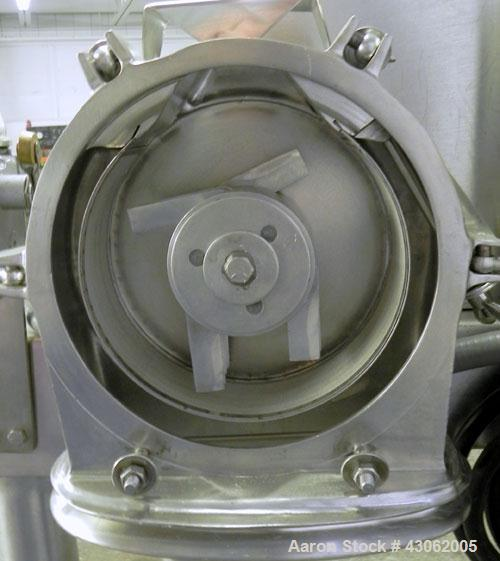 Used- Fitzpatrick Homoloid Mill, Model JT, 316 Stainless Steel. 7-1/2'' Diameter x 2'' deep chamber, (12) 410/16/20 stainles...