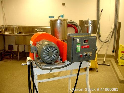 Used- Fitzpatrick Homoloid Fitzmill, Model JT, stainless steel construction, gravity feed with hopper, swinging hammers on b...