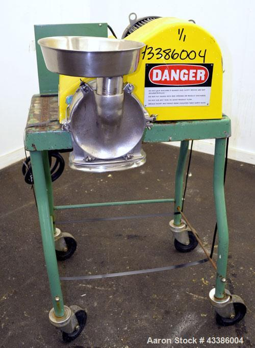 "Used- Fitzpatrick Homoloid Mill, Model JT, 316 Stainless Steel. 8"" Diameter x 2"" deep chamber, (11) 410/16/20 Stainless stee..."