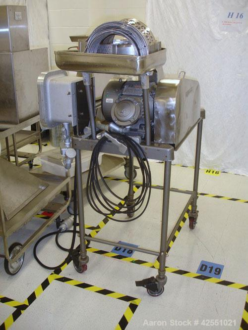 Used- Fitzpatrick Fitzmill, Model M5, Stainless Steel. Reversible chamber, fixed blades, pan feed with 3 hp, 230/460 volt XP...