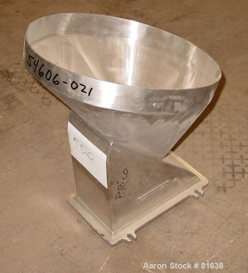 """USED: Fitzpatrick Fitzmill, stainless steel throat, 15-1/2"""" diameter top opening, 8"""" x 6"""" throat."""