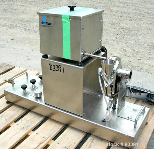 """USED: Fluid Energy Aljet mill, 316 stainless steel. Top feed with hopper. 2"""" tri-clamp outlet. Includes an Accurate feeder w..."""