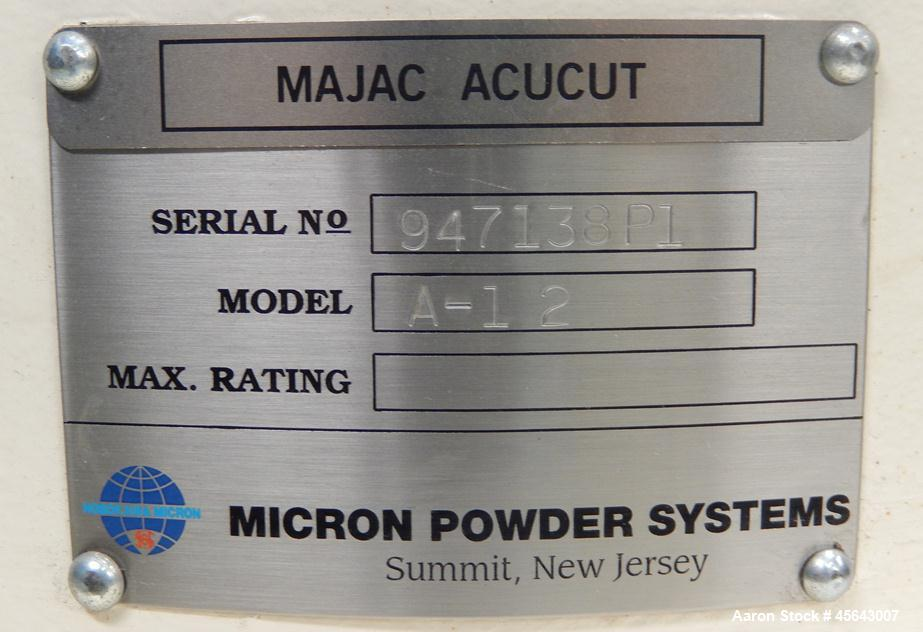 Used- Micron Powder Systems Model A-12 Acucut Air Classifier