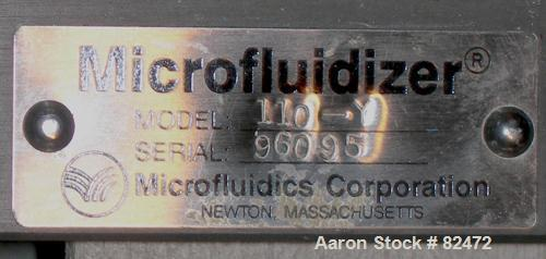 USED: Microfluidics lab microfluidizer, model 110-Y, stainless steel. Unit designed for high shear rates, maximizing the ene...
