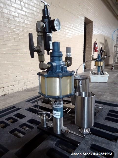 Used- Microfluidics Microfluidizer, Model 110F, Stainless Steel. Nominally flow rated 525 ml/minute (water). Rated up to 300...