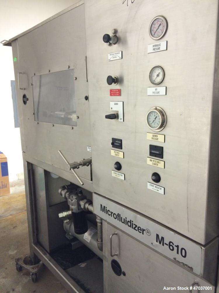 Used- Microfluidics Series Production Microfluidizer, Model M610-100. Stainless steel. Electrically driven, dual plunger, hy...