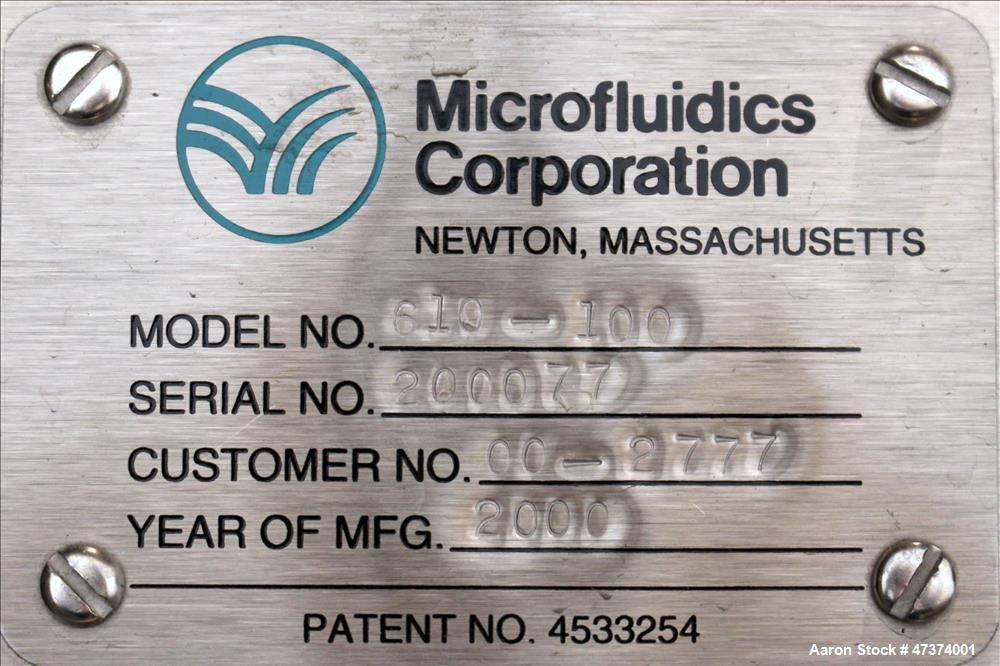 Used- Microfluidics Series Production Microfluidizer, Model M610-100, Stainless