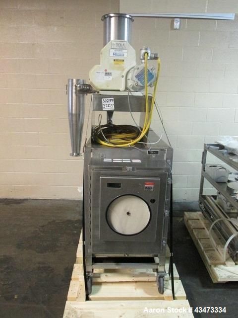 """Used- Trost Jet Mill, Model T15. Stainless steel product contact surfaces. 10"""" Diameter grinding chamber on cart with fines ..."""