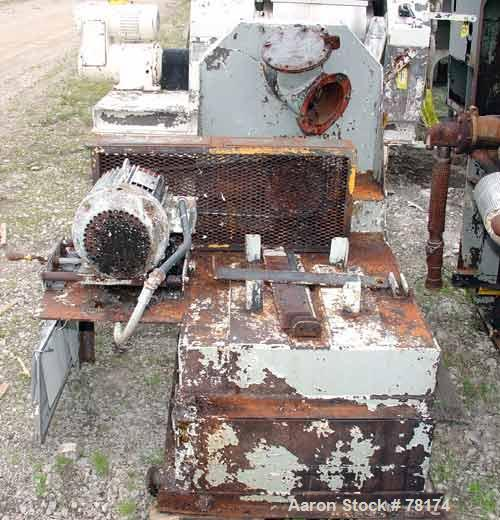 "USED: Hammer mill, carbon steel. 19"" diameter chamber. (12) 2"" wide x1/4"" thick swinging hammers. Top feed, bottom discharge..."