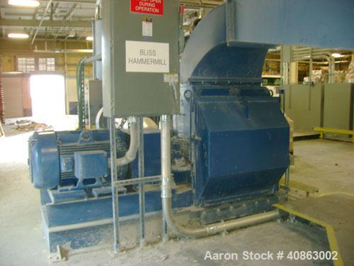 """Used-Bliss Hammermill, Model 3840. Direct drive 250 hp Baldor motor. Includes new 3/8"""", 1/2"""" and 3/4"""" screens. Also has doub..."""