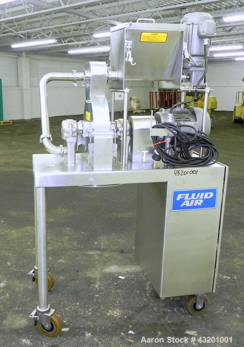 Used- Fluid Air Impact/Screening Mill, Model 003, 304 Stainless Steel. 17-4PH Stainless steel fixed rotor with bars, 4'' x 1...