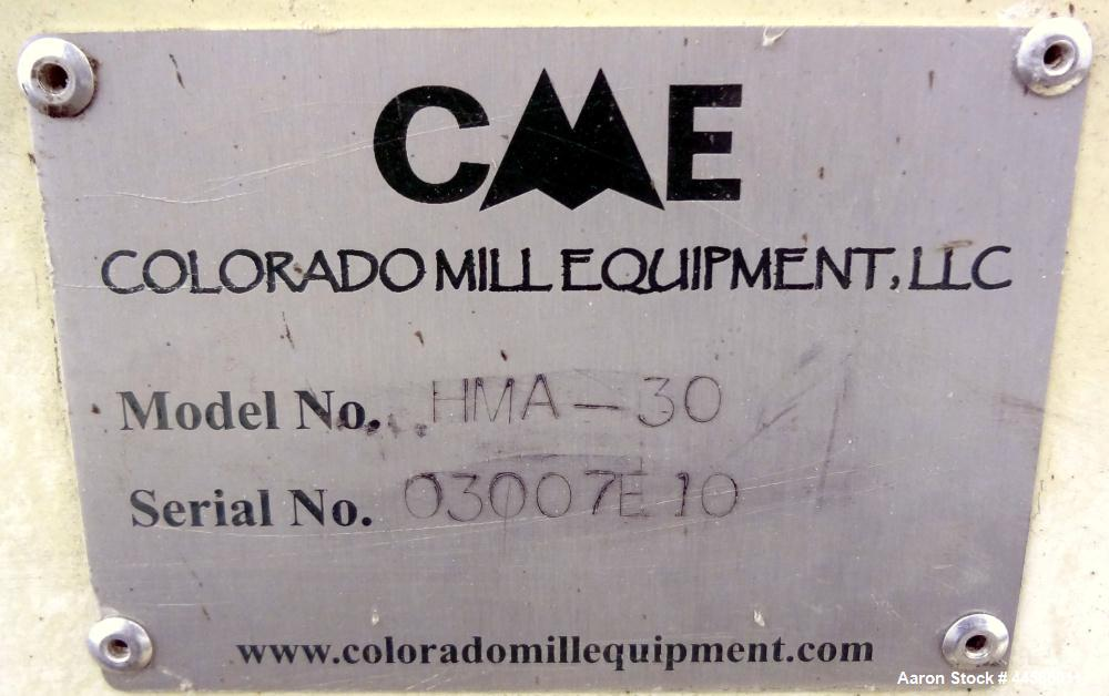 Used- Colorado Mill Equipment CME Hammer Mill, Model HMA-30, Carbon Steel. Approximate capacity 500-3500 pounds an hour depe...