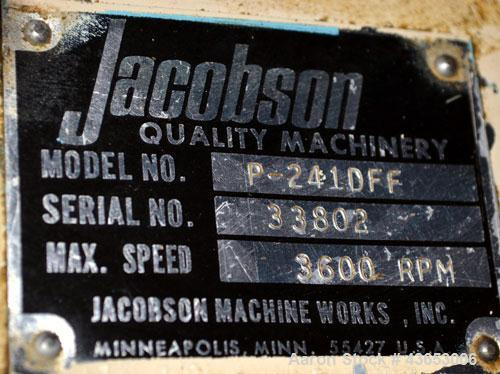 "Used- Jacobson Series 1 Full Circle Hammermill, Model P-241DFF, Carbon Steel.Approximately 14"" diameter x 9"" wide rotor with..."