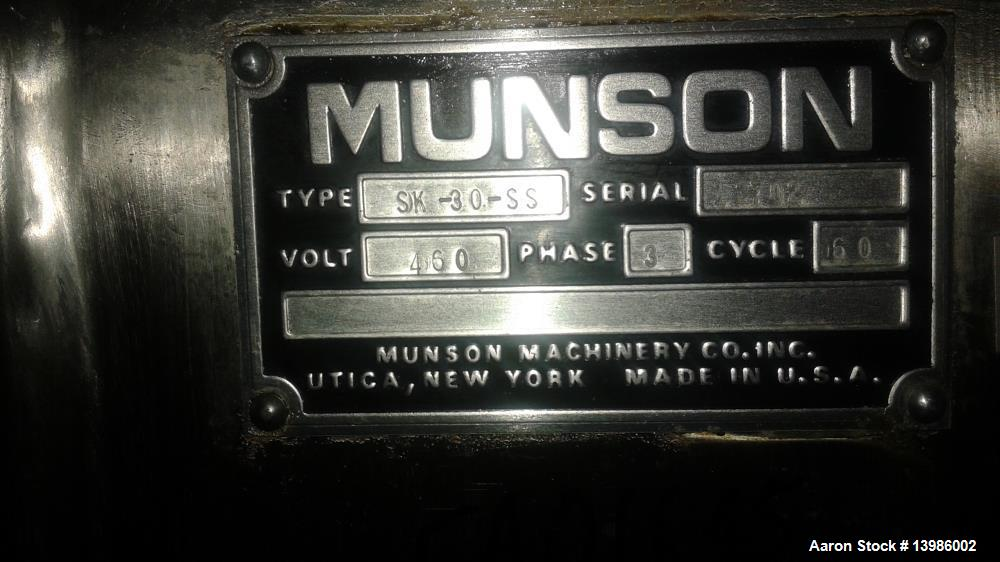 Used- Munson Attrition Mill, Model SK-30-SS. Stainless steel. 30 hp motor, 460 volt, 3 phase, 60 cycle.