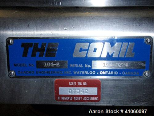 """Used- Quadro Comil, Model 194S, 316 stainless steel. Approximate 8"""" diameter impeller with screen, Approximate capacity up t..."""