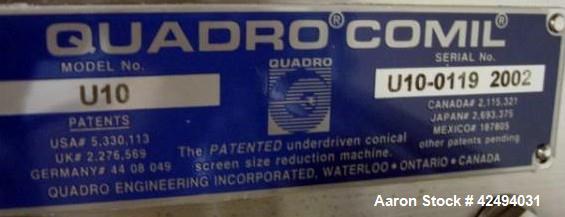 Used- Stainless Steel Quadro comil, model U10
