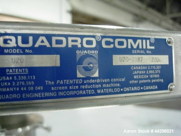 Used- Quadro Comil, Model U20, stainless steel construction,